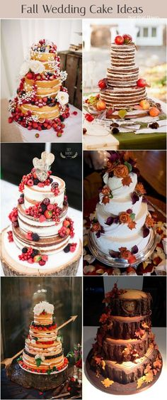 Rustic fall naked wedding cakes / http://www.deerpearlflowers.com/fall-wedding-ideas-for-2017/3/