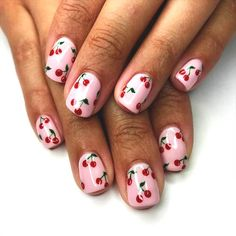 Looking for easy nail art ideas for short nails? Look no further here are are quick and easy nail art ideas for short nails. Nail Polish Designs, Cute Nail Designs, Nail Designs For Summer, Fruit Nail Designs, Girls Nail Designs, Nail Art Cerise, Cute Nail Art, Cute Nails, Pretty Nails