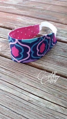 Headband Soft Reversible Purple Lattice Girls by cuddlingcuties on Etsy