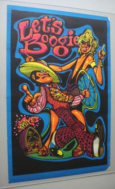 Vintage Black Light Poster Let's Boogie Hypnotic Sun 2 Double Sided Artko 1972 | eBay