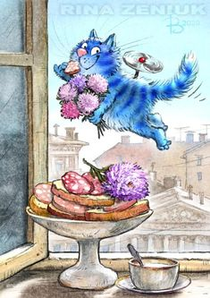 Cat Cupcakes, Blue Cats, Conte, Funny Cats, Rooster, Street Art, Photo Wall, Images, Art Prints