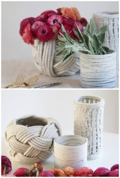 Use rope and yarn to make these beautiful vases. The tutorials are easy to understand with photo instructions.