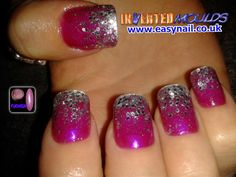 Fuchsia Pink and Silver Glitter Inverted Moulds by Cheryl Hammond  IM training www.easynail.co.uk  #Invertedmoulds #acrylicnails 'nailart #nailtech #fuchsia #pink