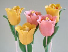 Red velvet tulip cake pops for easter/Spring!