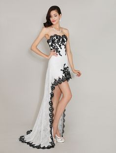 Sweetheart Neck Fantastic Applique Irregular Lace Prom Dress  #Prom #Dress  #Occasion