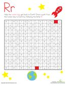 Kids get the rocket get back to Earth by doing an R maze on this kindergarten reading worksheet. They draw a path from the rocket to Earth by following the R's.