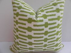 Etsy on pillows. APPLE GREEN. Annie Selke Home 20X20 Geometric Pillow Cover Home Decor Fabric-Green-Off White-Throw Pillow-Toss Pillow