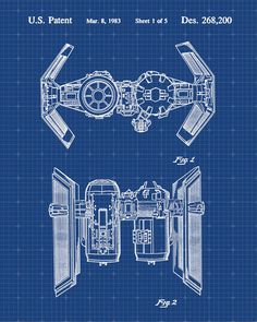 Star Wars Tie Bomber Patent Print Patent Art Poster Blueprint by VisualDesign on Etsy https://www.etsy.com/listing/207728367/star-wars-tie-bomber-patent-print-patent