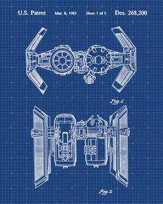 Star Wars Tie Bomber Patent Print Patent Art Poster Blueprint