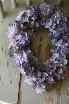 wreath of preserved hydrangeas