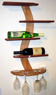 Wood accessories, wood art, wood gifts, Gallery M, California Wooden Wine Holder, Wood Wine Racks, Pallette Furniture, Cool Furniture, Cool Woodworking Projects, Woodworking Furniture, Unique Wine Racks, Wine Gadgets, Casa Top