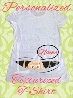 8377ec98 Personalized Maternity Color Texturized Fabric T-Shirt Baby saying HI Peeking  Out, Peek A