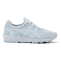 Asics Gel-Kayano Evo Trainers - Light Grey (£70) ❤ liked on Polyvore featuring shoes, sneakers, grey, grey sneakers, asics shoes, gray sneakers, gray flat shoes and lacing sneakers