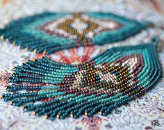Handmade seed bead earrings fringe earrings by EthnicBeadsHandmade