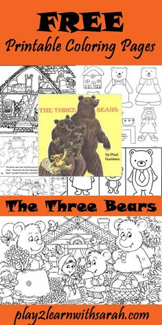 Three Bears Free Printable Coloring Pages | Play 2 Learn with Sarah http://play2learnwithsarah.com/three-bears-free-printable-coloring-pages/