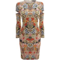 Alexander McQueen Patchwork Floral Slash Sleeve Pencil Dress ($449) ❤ liked on Polyvore featuring dresses, multicolor, flower print dress, brown jersey dress, three quarter sleeve dress, 3/4 length sleeve dresses and patchwork dress