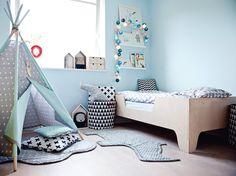 Tipi Namiot do pokoju dziecięcego Gray, Mint, STARS