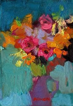 Larisa Aukon, The Only Touch by Larisa Aukon, Oil, 7 x 5 Folk Art Flowers, Abstract Flowers, Abstract Flower Paintings, Arte Floral, Still Life Art, Painting Inspiration, Art Lessons, Art Projects, Painting & Drawing