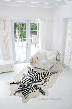 Jersey Road - Zebra Print Cowhide Rug (Off-White), $449.00 www.JERSEYROAD.com 100% top quality Brazilian cowhide rug. FREE SHIPPING USA and Canada wide.  Tags: #cowhide #cowrug #rug #leather #beautifulroom #dreamroom #bedroom #jerseyroadco #whiteonwhite  #zebra #zebraprint #zebrahide #livingroom #safari #animalprint #interior #manstyle #mrporter #vogue