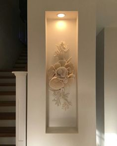 Every now and again my customers throw me a challenge. This coral display was specific to a wall recess. 17 pieces of coral floating under… Art Niche, Niche Decor, Wall Decor, Niche Design, Wall Design, House Design, Living Room Interior, Living Room Decor, Columns Decor
