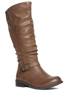 Evans Tan Ribbed Buckle Long Boots - Evans