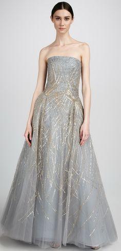 Carolina Herrera Strapless Tulle Gown.