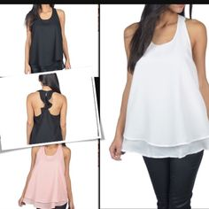 Double layer Ruffle back top Dressy Top with double layered Ruffle back . Available in size medium and Large . Colors available is Black , blush and white . Please Mention your size and color and I will personalized you a listing . Price is firm unless bundled . Tops Tank Tops
