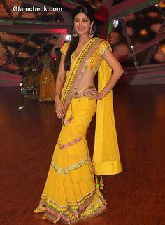 Shilpa Shetty on Nach Baliye in a Sultry Yellow Sari
