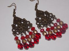 Red and Gold Chandelier Earrings by EriniJewel on Etsy