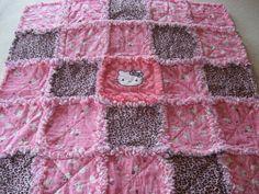 Ladybug Hello Kitty Baby Girl Rag Quilt Blanket.