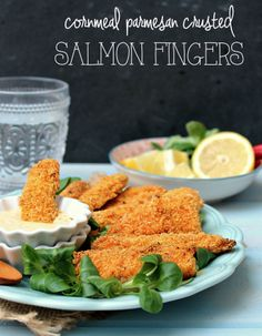 Cornmeal Parmesan Chili Crusted Salmon Fingers with Spicy Lemon Garlic Mayo - honey & figs