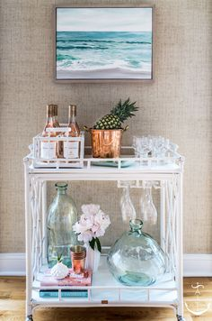 Sea Girt Retreat, Bar Cart...white bar cart, aqua glass vase jugs, ocean painting, coastal bar cart styling, summer bar cart ideas