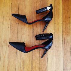 "Charles Jourdan Heels, Ankle-Cuff Charles Jourdan - crocodile- embossed leather with suede piping - 3"" heels- worn once - Size 8M Charles Jourdan Shoes Heels"