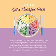 Mealtime Tip: Eat a Colorful Plate Vitamins And Minerals, Fruits And Veggies, Stay Fit, Colorful, Diet, Plates, Make It Yourself, Healthy, How To Make