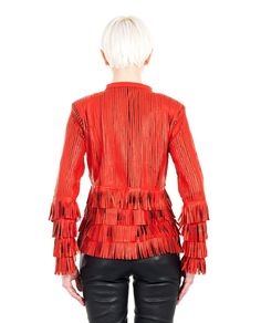 """Red leather jacket """"Fringe Short""""  mandarin collar long sleeves macramé details with contrast fringe and studs hook closure free T-shirt included 100% Leather"""