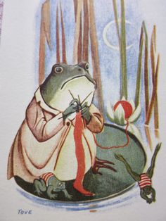 Tove Jansson's painting Character Art, Character Design, Fantasy Witch, Frog Drawing, Frog Pictures, Tove Jansson, Frog Art, Frog And Toad, Textiles