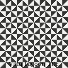 """Pinwheel A Black & White"" Cement Tile, from Villa Lagoon Tile."