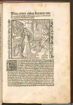 "Lady combing her hair, pg 43 ""Der Ritter vom Turn"" by Geoffroy de la Tour Landry, translated by Marquard vom Stein, illustrated by Albrecht Durer, 1493-95"