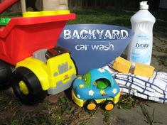 """Backyard Car Wash""- Fantastic idea because it's able to blend some 'grown-up responsibility' with 'kid-friendly fun/ mess'!"