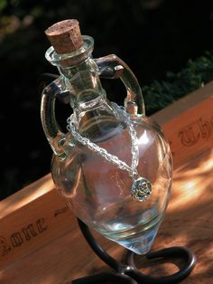 Magick Potion Bottle Vessel with Metal Stand by WhiteMagickAlchemy, $24.00