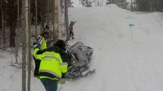 Layne Stank Misses The Line, Snowmobile Rolls Sled Down Steep Hill
