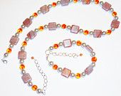 Orange Beaded Necklace and Bracelet Jewellery Set Summertime