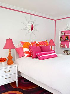 If you're hesitant to paint your kid's room in their favorite bright hue, consider adding a ribbon trim insead for a bright pop of color.