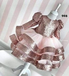Champagne Gold Sequins Long Sleeve Baby Girl Dress Sheer Neck Kids First Birthday Dress Party Gown with Bow First Birthday Dresses, Birthday Girl Dress, Little Girl Dresses, Girls Dresses, Flower Girl Dresses, Dresses Dresses, Party Dresses, Formal Dresses, Wedding Dresses