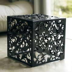 Foley Cube Bench by MODLOFT A laser cut botanical design - steel construction available in red, black or white. Plasma Cnc, Plasma Cutting, Modern Furniture, Furniture Design, Laser Cut Steel, 3d Cnc, Wood Crafts, Decorative Boxes, Home Decor