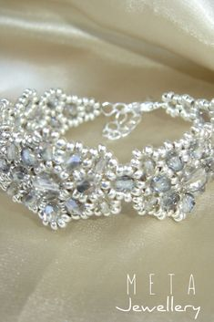 Silver grey handmade beaded bracelet Beaded Jewelry, Beaded Bracelets, Diamond, Grey, Silver, Handmade, Gray, Hand Made, Money