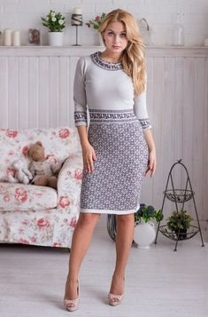 Knitted dress Lapland with a jacquard pattern of gray silky viscose, very pleasant to the skin. Before ordering or if you have any questions, Fair Isle Knitting, Baby Knitting, Jacquard Pattern, Beautiful Dresses, Nice Dresses, Knit Or Crochet, Knit Dress, Dress To Impress, Knitwear