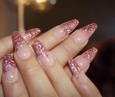 Pink Glitter Tip Long Coffin Nails #nail #nailart #NYE #holiday