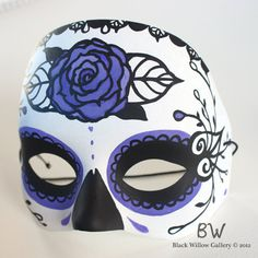 Purple Rose Sugar Skull Day of the Dead Mask by Lupe Flores available at BlackWillowGallery, $35.00