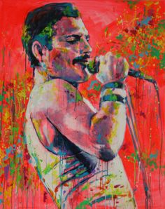 "Polish Artist: Marta Zawadzka; Acrylic 2013 Painting ""Freddie Mercury"""